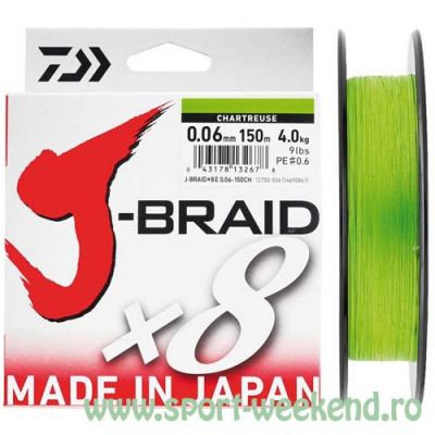 Daiwa - Fir textil J-Braid X8 Chartreuse 0,10mm - 150m - 4kg