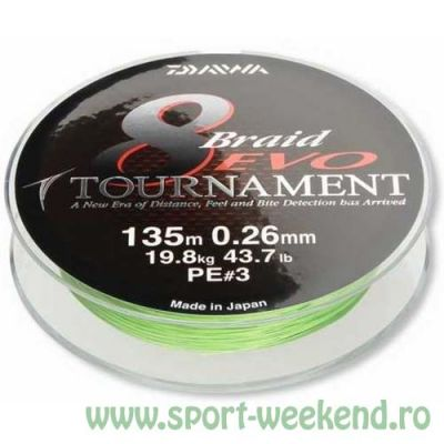 Daiwa - Fir Tournament 8xBraid Evo Chartreuse 0,08mm - 135m - 4,9kg